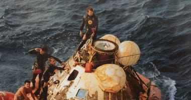 Astronauts on the Apollo 11 mission returned safely to Earth on July 24, 1969 and were picked up by the USS Hornet after their historic trip to the moon.