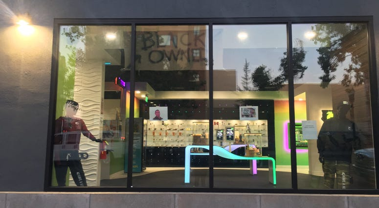 A cannabis dispensary storefront in Downtown Oakland amid George Floyd protests, June 3, 2020