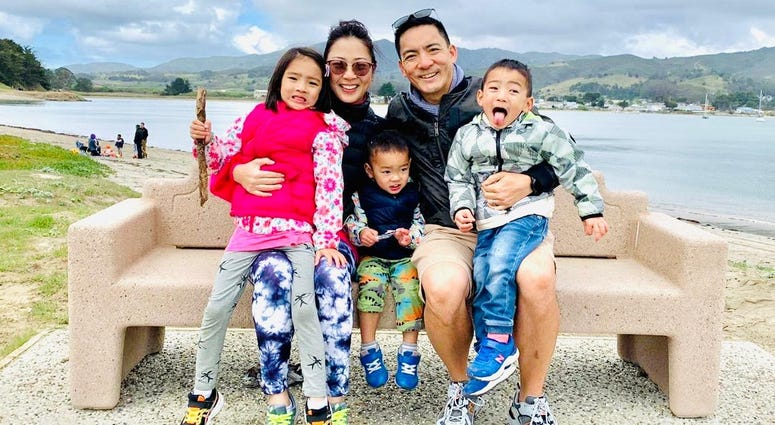 Cheline Yau and her family at Half Moon Bay on March 15 -- L-R Raya Sun, Cheline Yau, Euan Sun, Eugene Sun, Juno Sun -- who escaped the coronavirus outbreak in Hong Kong only for it to follow them to the Bay Area