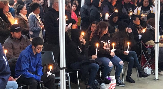 Students from Dublin High School were among the large crowd that attended a vigil on Dec. 28, 2019 for three teens killed in a car crash on Christmas Day.