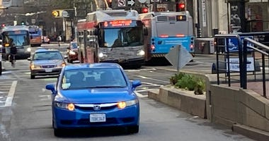 Private cars will no longer be permitted to drive on much of Market Street in downtown San Francisco starting Jan. 29, 2020.