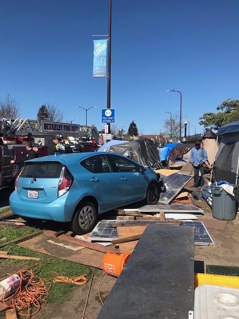 Car destroys solar panels at Berkeley homeless camp