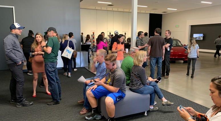 Waiting room at Tesla showroom in Fremont
