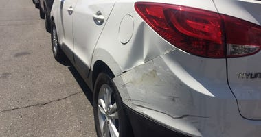 Vehicle damaged in alleged DUI hit and run crash in Alameda