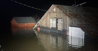 Flooded barn near Guerneville February 28, 2019