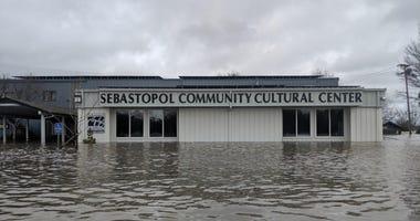 Flooded Sebastopol Community Cultural Center