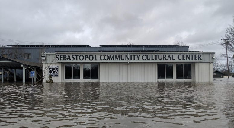 Flooded Sebastopol Community Cultural Center