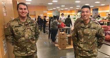 Members of the California National Guard were activated to support a South Bay food bank that was struggling without volunteers during the coronavirus outbreak on March 24, 2020.