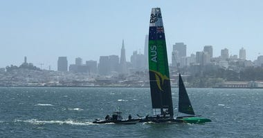 Teams from six countries are competing in a race on high-speed catamarans in the San Francisco Bay in May 2019.