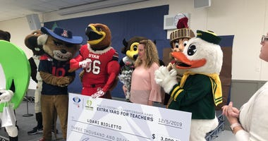 Pac-12 mascots deliver checks to San Jose schools