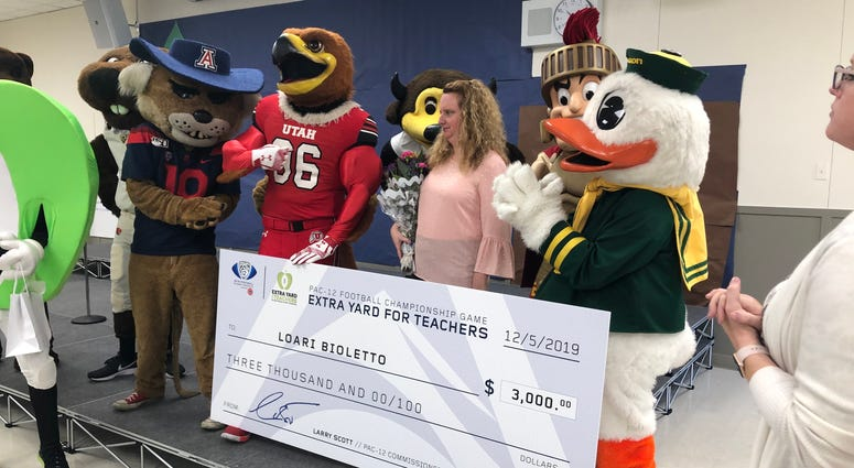 Pac-12 mascots deliver checks to San Jose schools