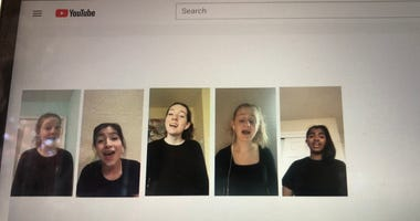 A sophomore girl's quintet from Mountain View High School sings virtually.