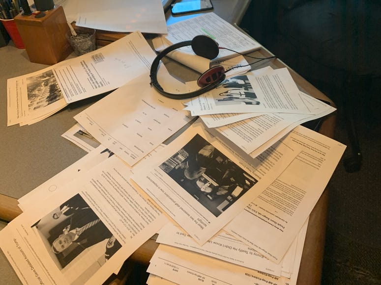 Stan Bunger's desk on during impeachment hearings on Nov. 19, 2019.