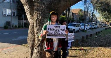 Protestors at People's Park in Berkeley