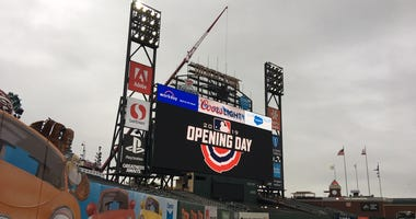 Scoreboard at Oracle Park