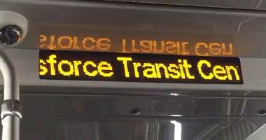 Destination sign aboard AC Transit Transbay bus
