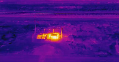Infrared drone view of Bay Point gas vault fire