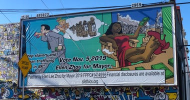 San Francisco mayoral candidate Ellen Zhou has been criticized for displaying this billboard.