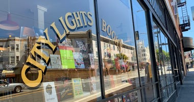 The front window of the iconic City Lights Bookstore in San Francisco.