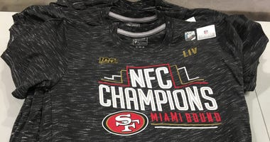 49ers NFC Championship shirt on sale at Dicks Sporting Goods in Daily City.