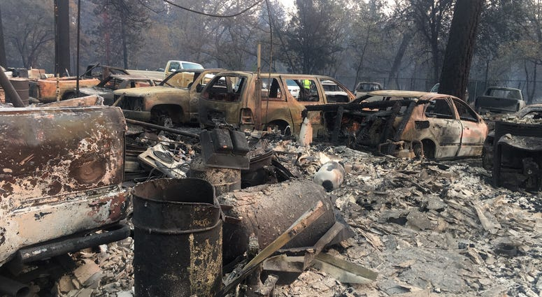 Cars destroyed by Camp Fire in Paradise, CA