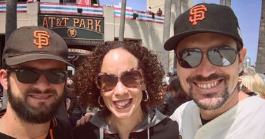 Melissa Culross and her friends before a San Francisco Giants game.