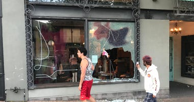 One of several businesses damaged in downtown Walnut Creek during Sunday protests.