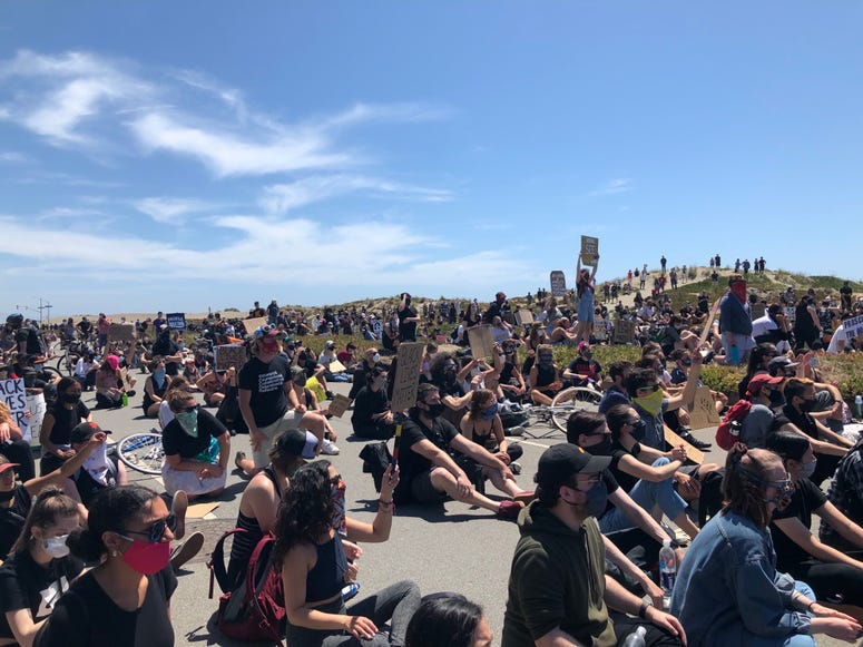 Peaceful March and protest in George Floyd death at Ocean Beach, San Francisco, June 2, 2020