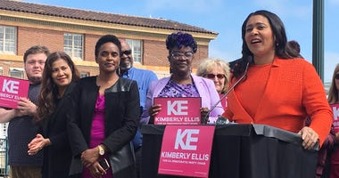 San Francisco Mayor London Breed, right, endorses Kimberly Ellis, third from left, as chair of the California Democratic Party.