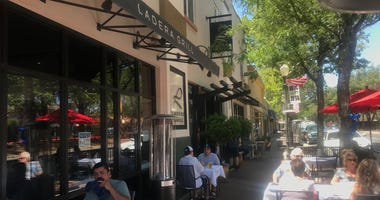 Diners eat outside at Ladera Grill in Morgan Hill.