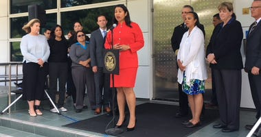 London Breed, in red, attended a meeting on emergency preparations in one of her first acts as San Francisco mayor on July 12, 2018.
