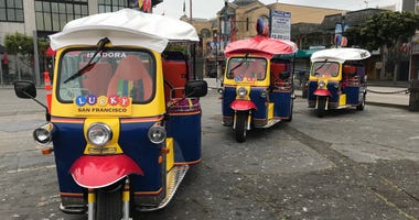 Lucky Tuk Tuk offers electric auto-rickshaws for tours in San Francisco.