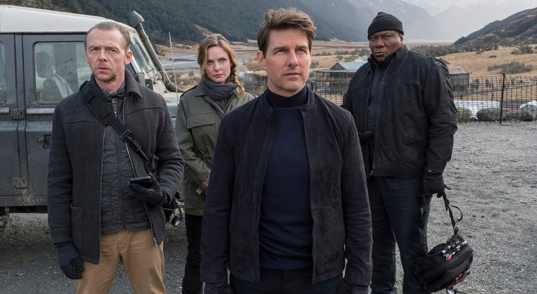 "Simon Pegg, Rebecca Ferguson, Tom Cruise and Ving Rhames in a scene from ""Mission: Impossible - Fallout."" (David James/Paramount Pictures and Skydance via AP)"
