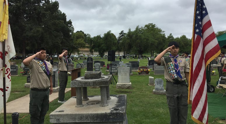 A Memorial Day ceremony at Oak Hill cemetery in San Jose honored a unit of Japanese-American soldiers from World War Two.