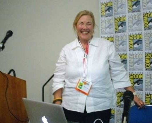 Nicky Wheeler-Nicholson as moderator of a panel at Comic-Con in San Diego in 2015.