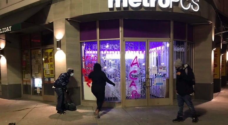 Vandalism seen in downtown Oakland.