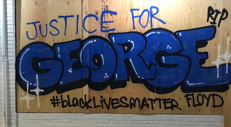 Graffiti in downtown Oakland following a protest over the death of George Floyd.
