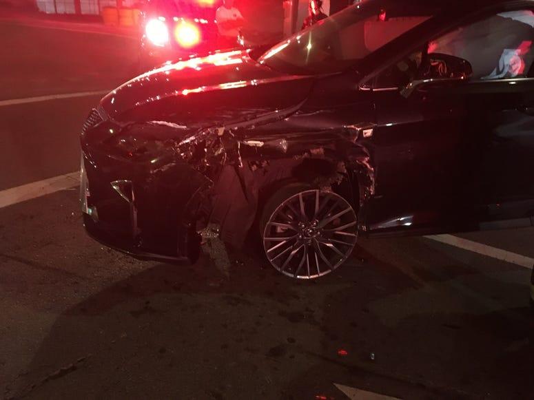 Crashed vehicle in San Bruno