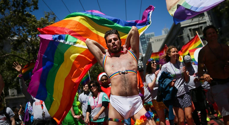 A man dances in the annual LGBTQI Pride Parade on Sunday, June 25, 2017 in San Francisco, California.