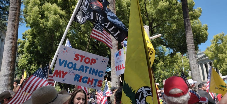 Protesters gather outside the State Capitol building in Sacramento at a rally against continued shelter-in-place orders and restrictions on businesses.