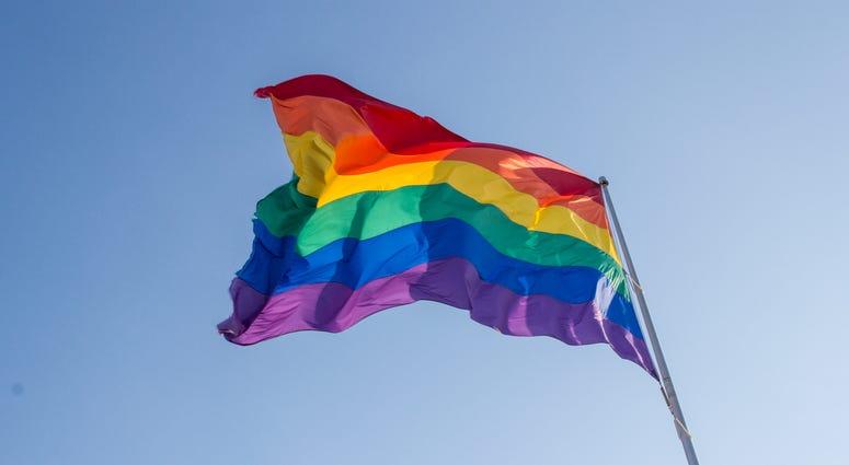 Rainbow flag at Milk Plaza, San Francisco