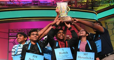Rishik Gandhasri of San Jose was one of eight students to tie for first place in the 2019 Scripps National Spelling Bee on May 30, 2019.