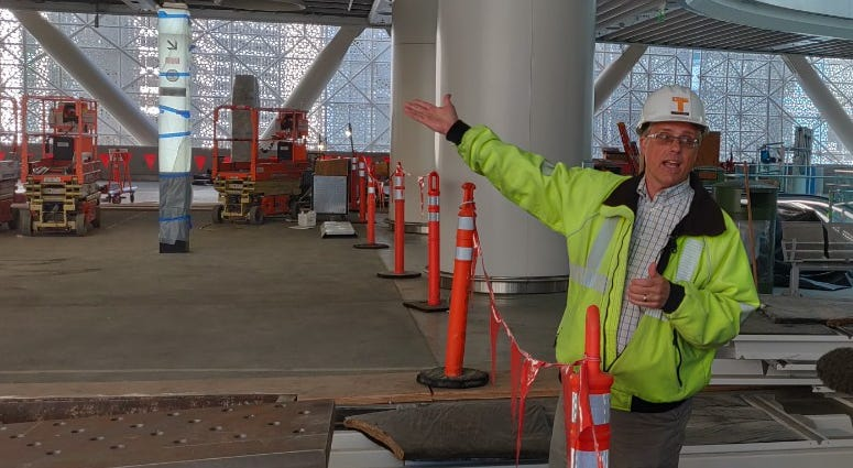 Dennis Terchon with the Transbay Joint Powers Authority during a tour of the Salesforce Transit Center in San Francisco.