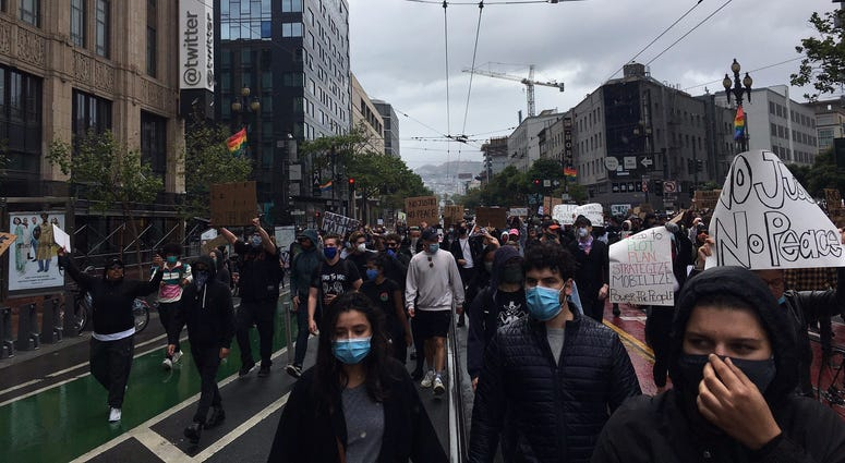 A rally moves down Market St. in San Francisco.