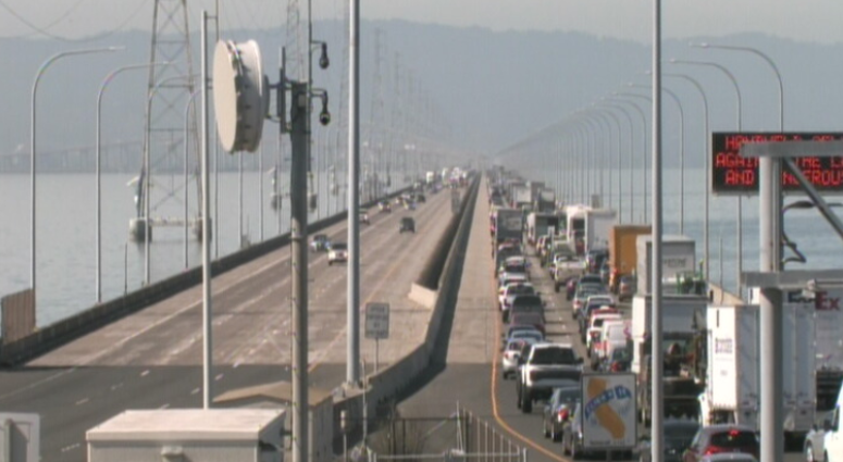 There are significant delay on the San Mateo Bridge where a tow truck collided into the center barrier on October 9.