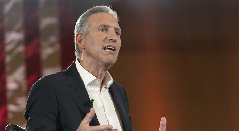 Howard Schultz, Starbucks' former CEO, speaking  at a town hall with Arizona State University President Michael Crow