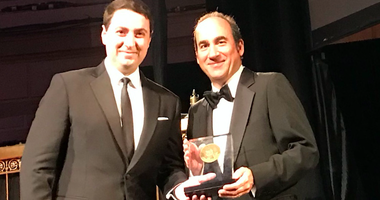 KCBS Radio reporter Doug Sovern, right, stands with CBS Radio White House Correspondent Steven Portnoy, after receiving an Edward R. Murrow award for his coverage of the 2017 Wine Country fires.