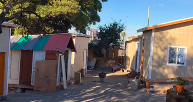 Volunteers built tiny homes in Vantage Point Park in Oakland for homeless people.