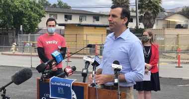 A new Verily COVID-19 testing site is unveiled by Mayor San Liccardo in East San Jose.