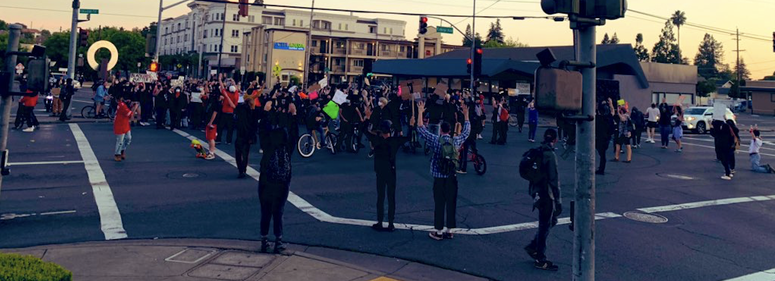 A protest Monday night on the streets of Santa Rosa.